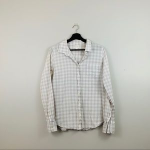J.Crew | Gray Gingham Plaid Print Button Down Top